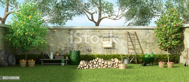 Rural garden with fruit trees and firewood on grass - 3d rendering Note: the garden does not exist in reality, Property model is not necessary