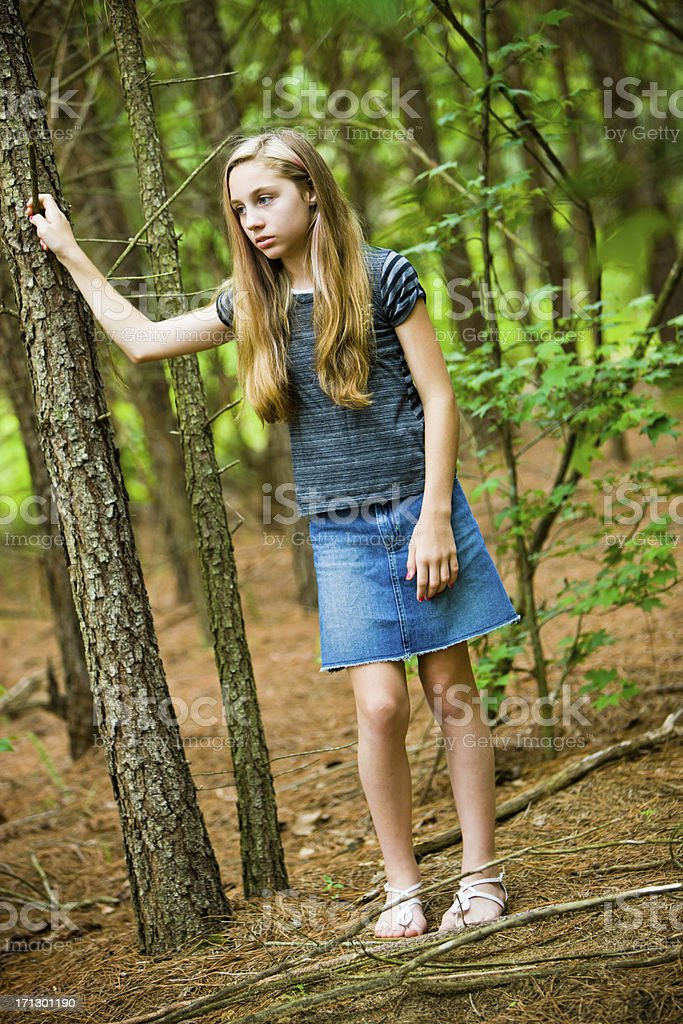 Rural girl in the woods portrait stock photo