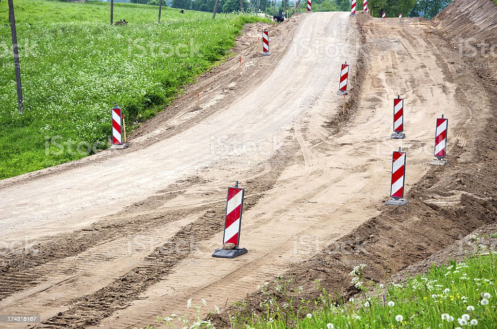 rural gravel Road Construction And Repairs stock photo