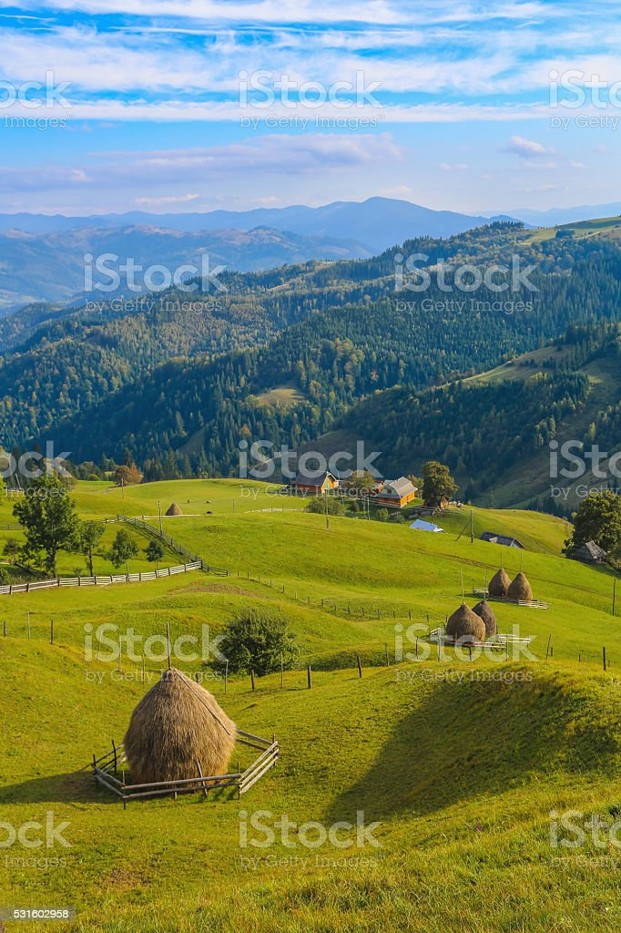 Rural house in the mountains stock photo