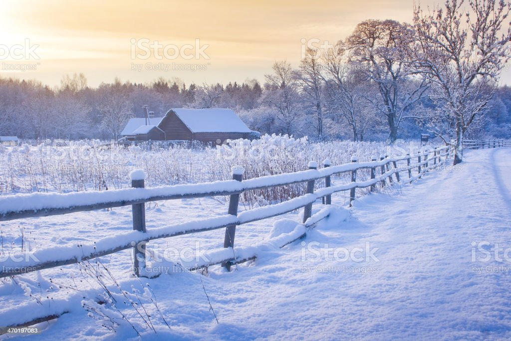 Rural house with a fence in winter stock photo