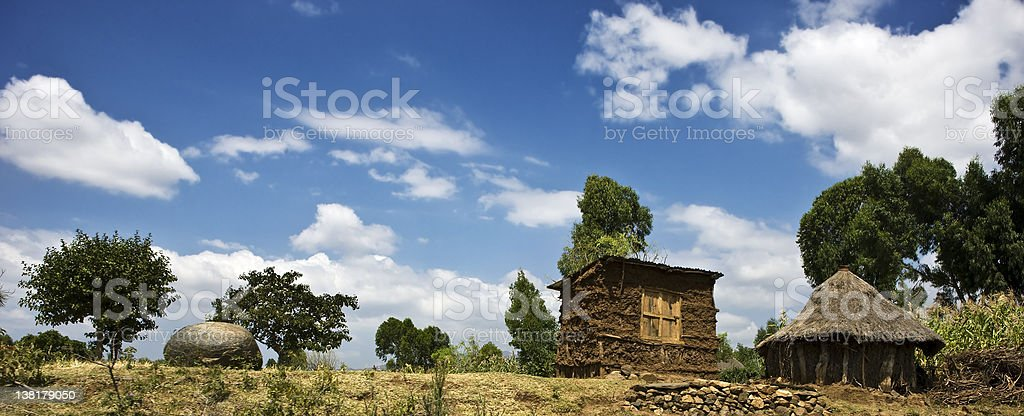 Rural hut and Granary in South Ethiopia royalty-free stock photo