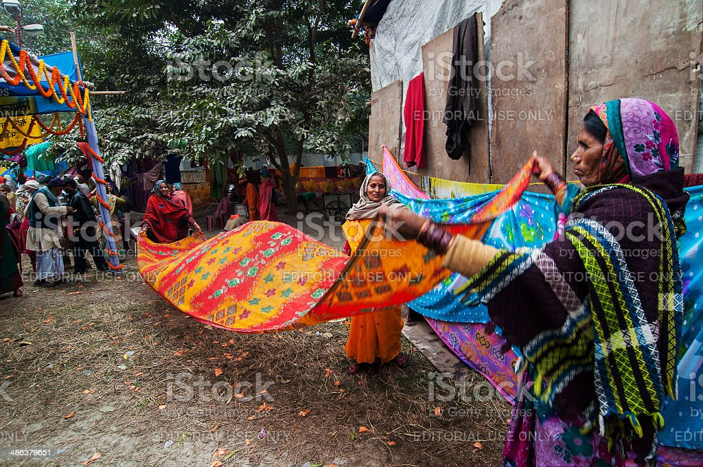 Rural Indian Women drying sari royalty-free stock photo