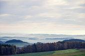 Wide angle capture of the beautiful Austrian landscape near Linz in autumn 2012.