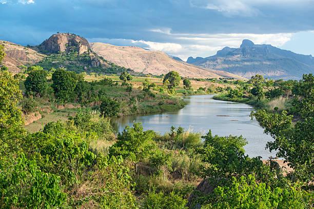 Rural landscape in Madagascar with Andringitra Massif stock photo