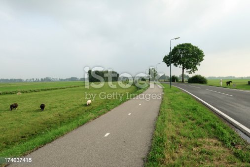 istock Rural landscape in the Netherlands with road and bicyle lane 174637415