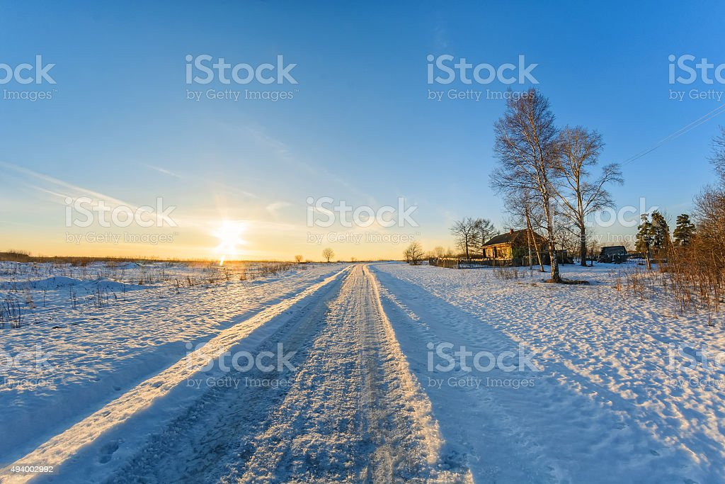 rural landscape in winter on a Sunny day stock photo