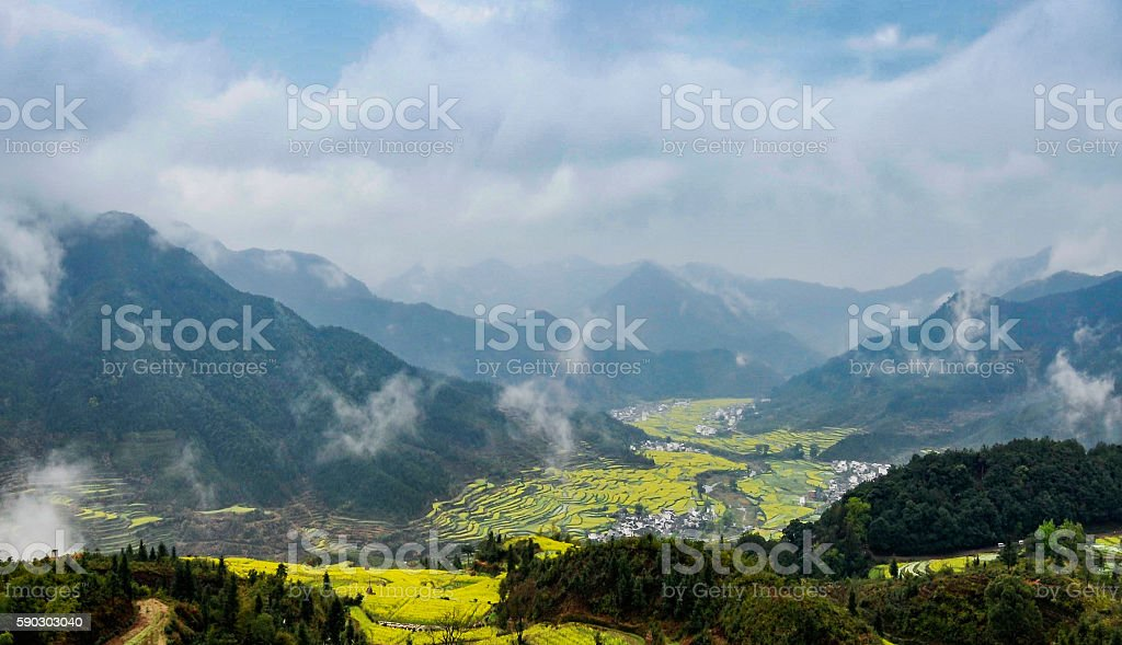 Rural landscape in wuyuan county, jiangxi province, china. stock photo