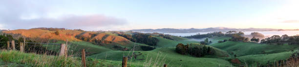 Rural landscape panoroma Warkworth, North Island, New Zealand NZ stock photo