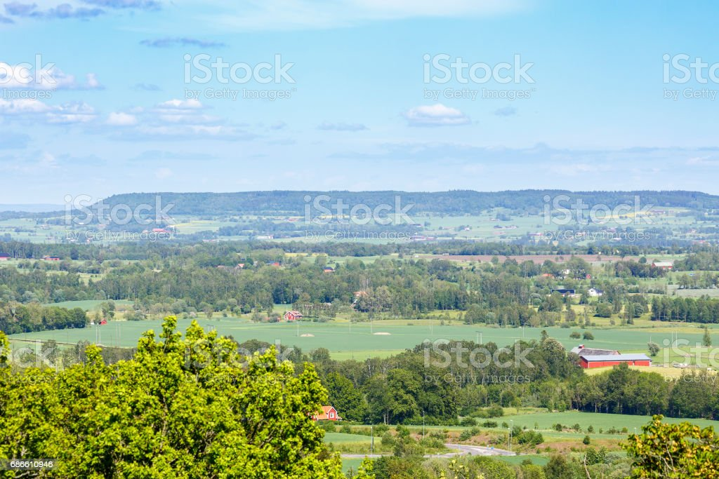 Rural landscape view of fields and groves of trees royalty-free stock photo