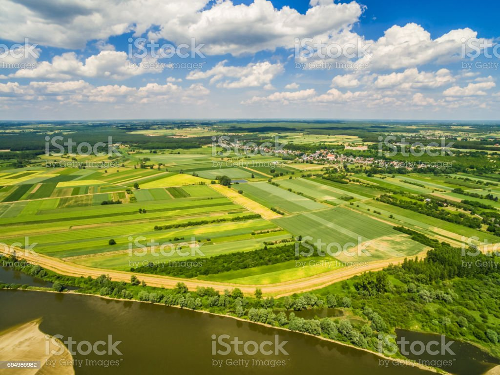 Rural landscape with a bird rally. Fields stretching to the horizon. stock photo
