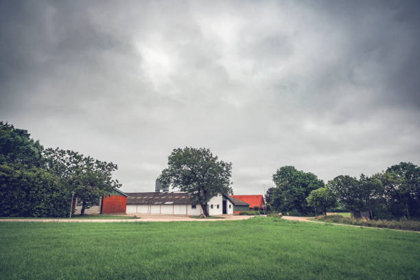 Rural landscape with a farm stock photo