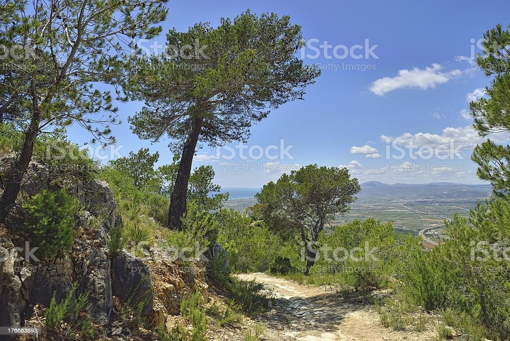 Rural landscape with mountain view in Spain. Sunny day. royalty-free stock photo