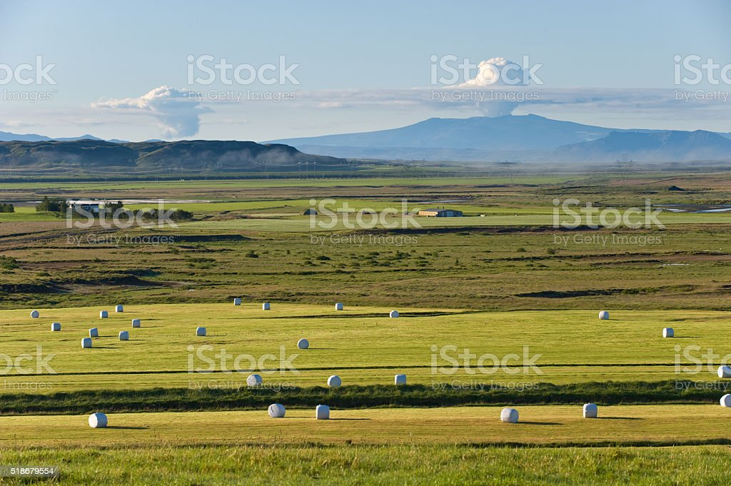Rural landscape with reeky. Eyjafjallajokull, Iceland stock photo