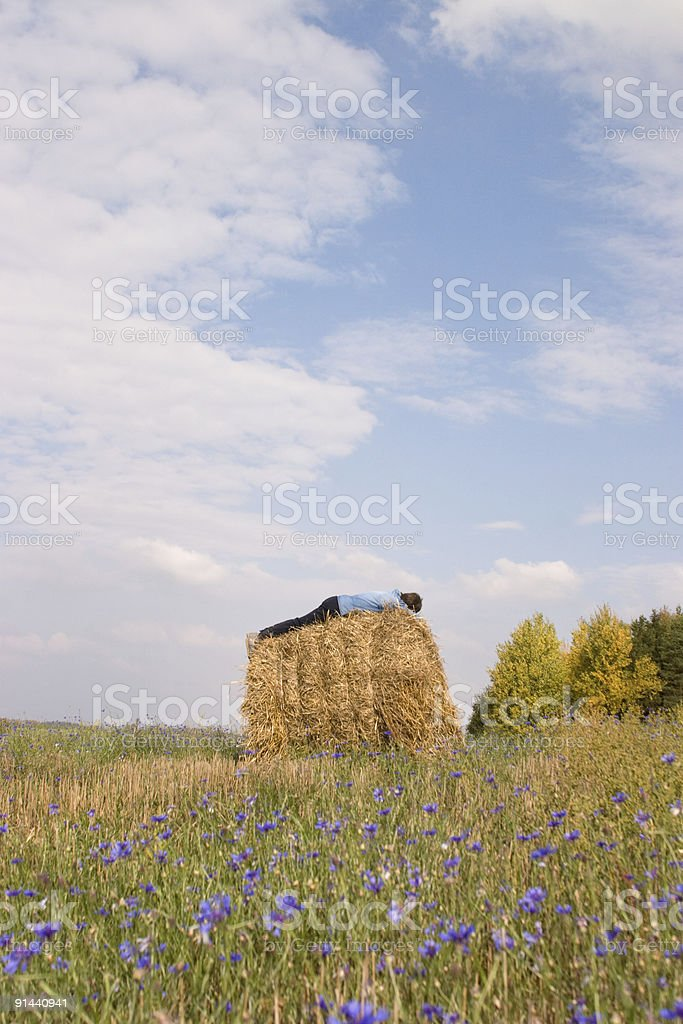 rural landscape with sleeping man royalty-free stock photo