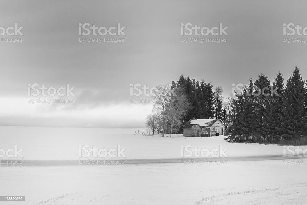 Rural landscape with small sheds in winter royalty-free stock photo