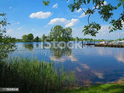 Landscape with the idyllic Eider river and the marian in Bargen in Schleswig-Holstein
