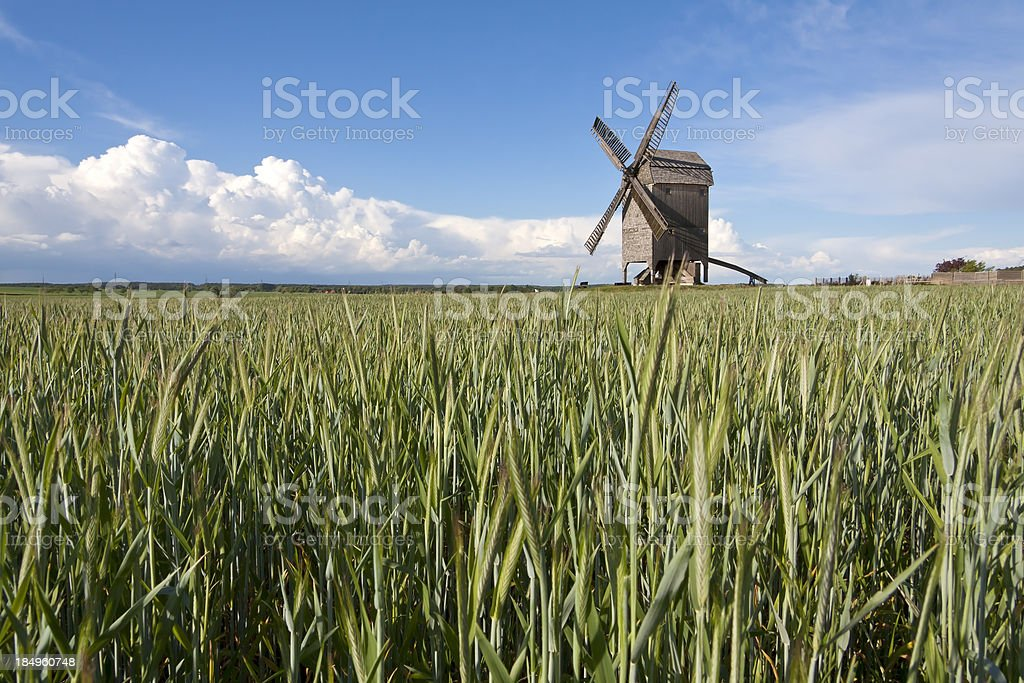 Rural Landscape with windmill stock photo