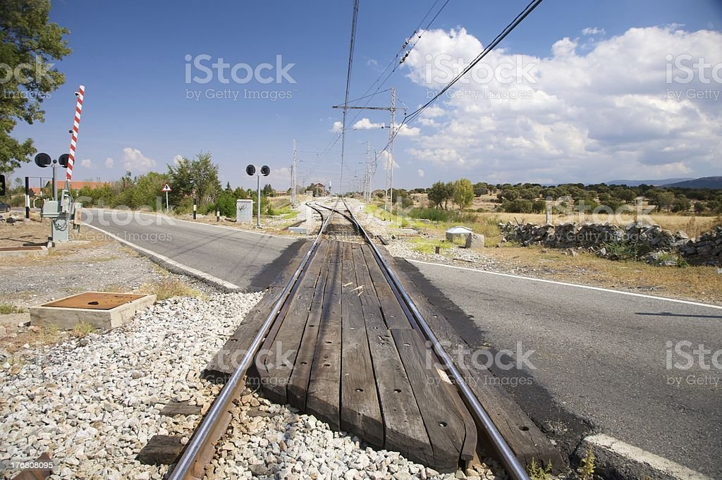 rural level crossing stock photo