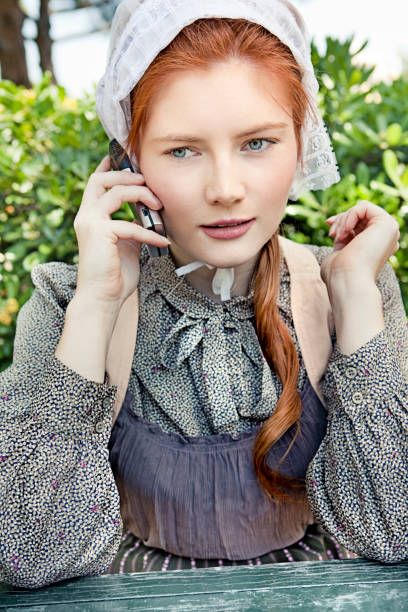 rural life - woman green eyes red hair stock photos and pictures