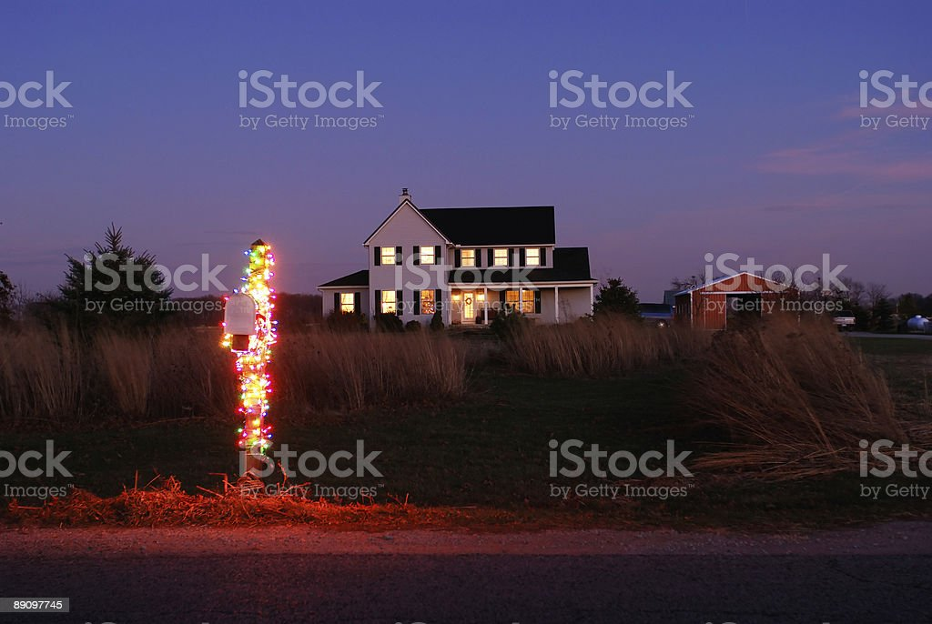 Rural Mailbox Decorated for Christmas royalty-free stock photo