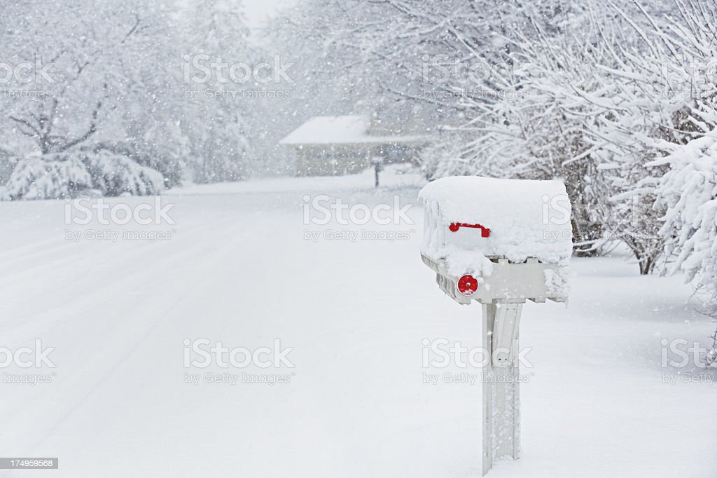 Rural Mailboxes and Blizzard Snow stock photo