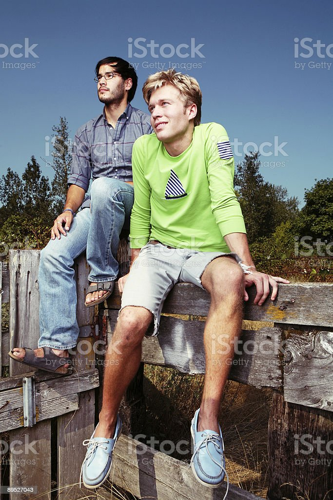 Rural Men Sitting Sunny Day royalty-free stock photo