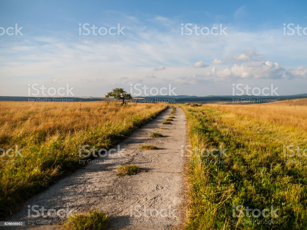 Rural mountain road stock photo