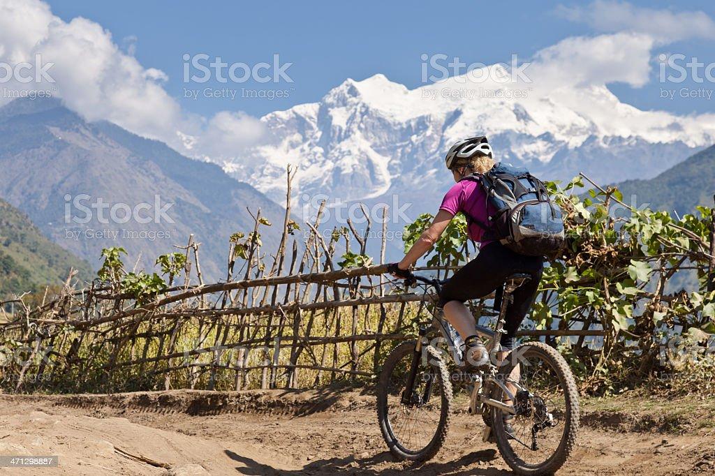 Rural mountainbiking in Nepal royalty-free stock photo