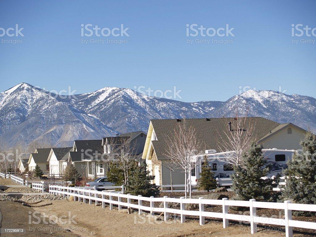 Rural Neighborhood Real Estate Row of Houses royalty-free stock photo