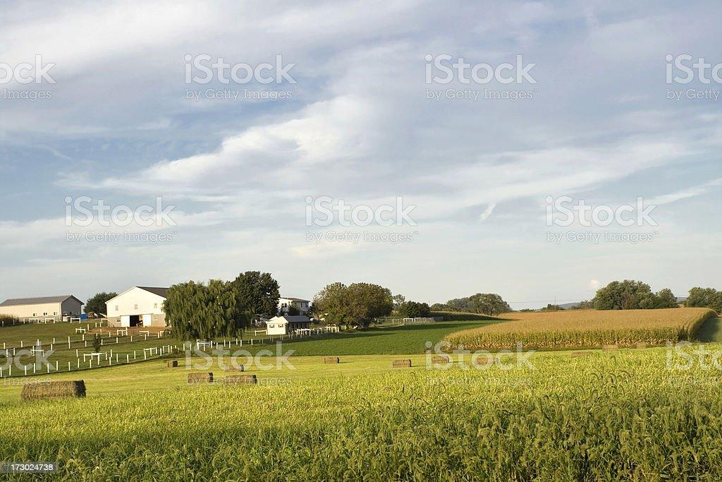 Rural Pennsylvania at dusk - farm in Lancaster county royalty-free stock photo