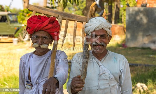 Sedua Rajasthan India, - January 4, 2018 : Rural man from choudhary community this people mostly doing work of herding cattle and agriculture and live together in village, Sedua India January 4, 2018