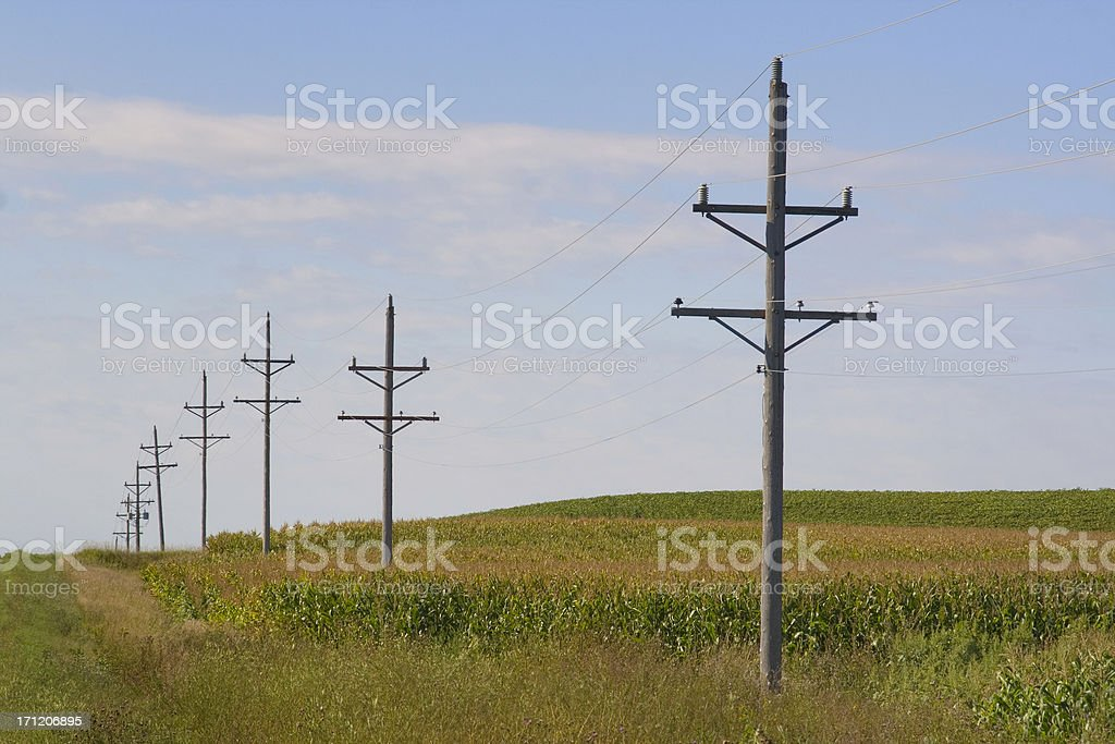 Rural Power Lines stock photo