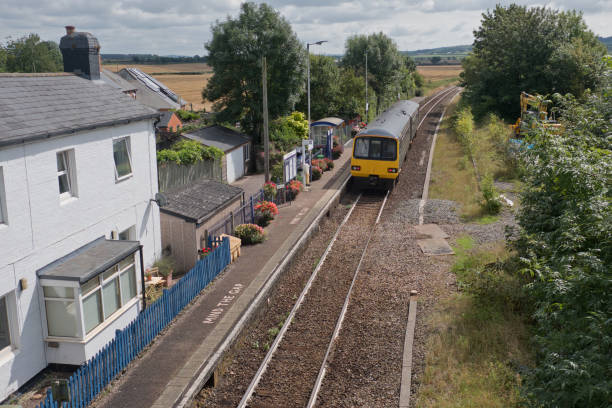 rural railway line in devon uk - railway signal stock photos and pictures