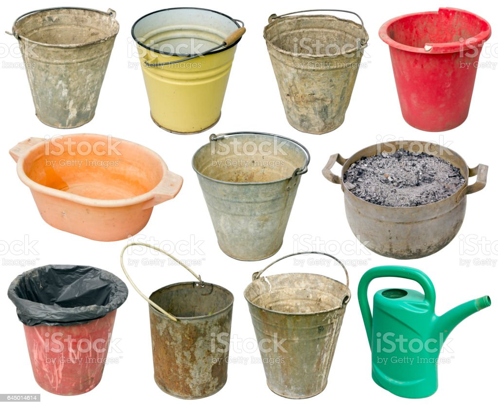 Rural real old used  metal and plastic buckets for water, garbage and weeds. One orange basin for washing of legs and a green watering can. Isolated  on white set stock photo