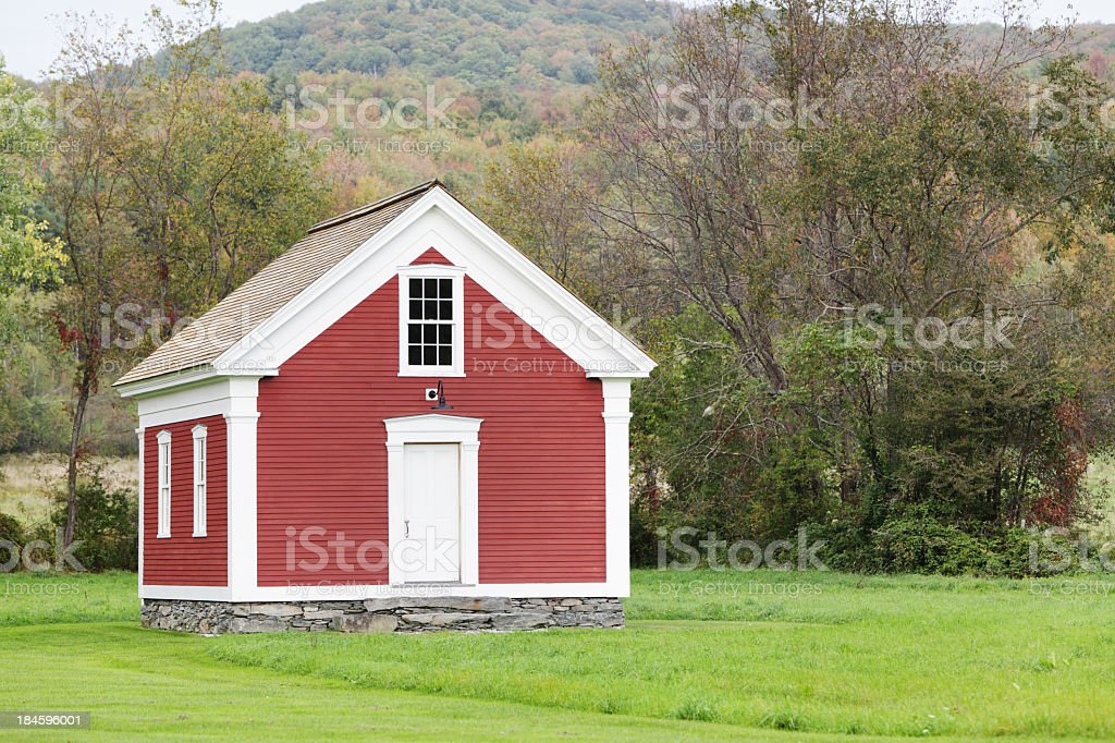 Rural Red One Room School House stock photo