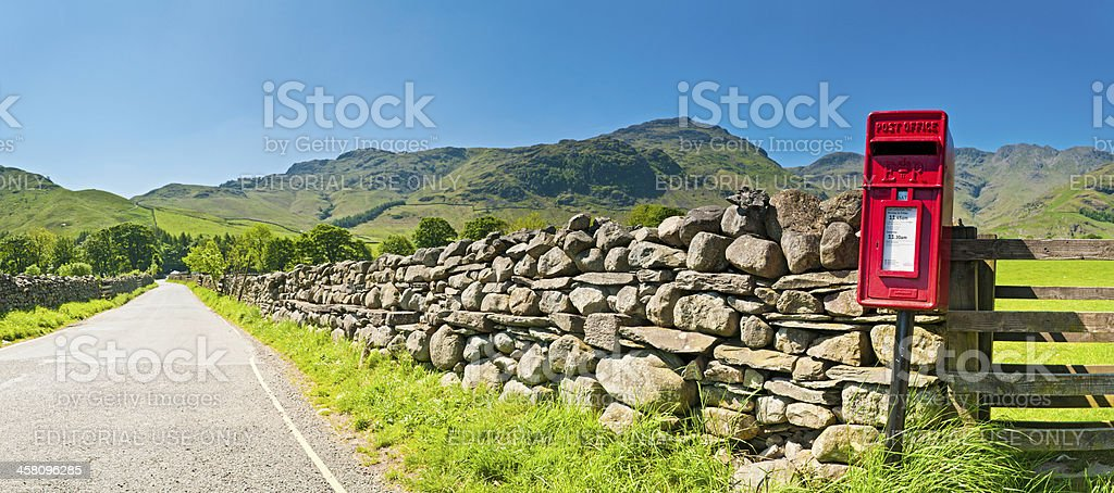 Rural red post box Lake District summer panorama stock photo