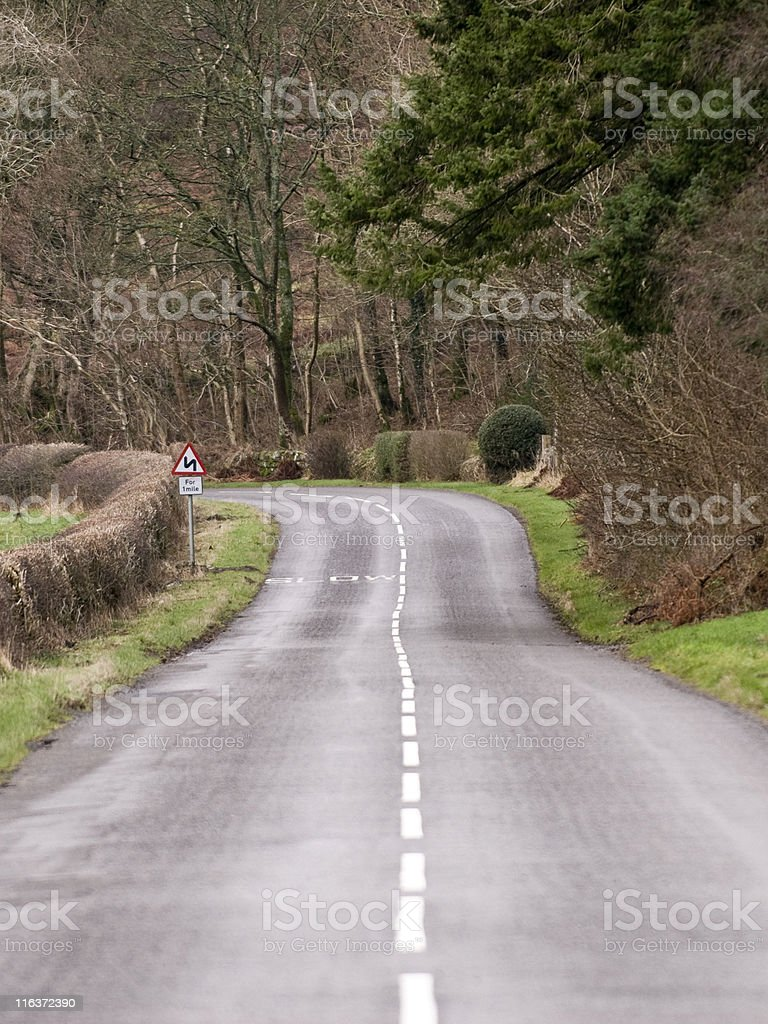 Rural road in Dumfries and Galloway south west Scotland royalty-free stock photo