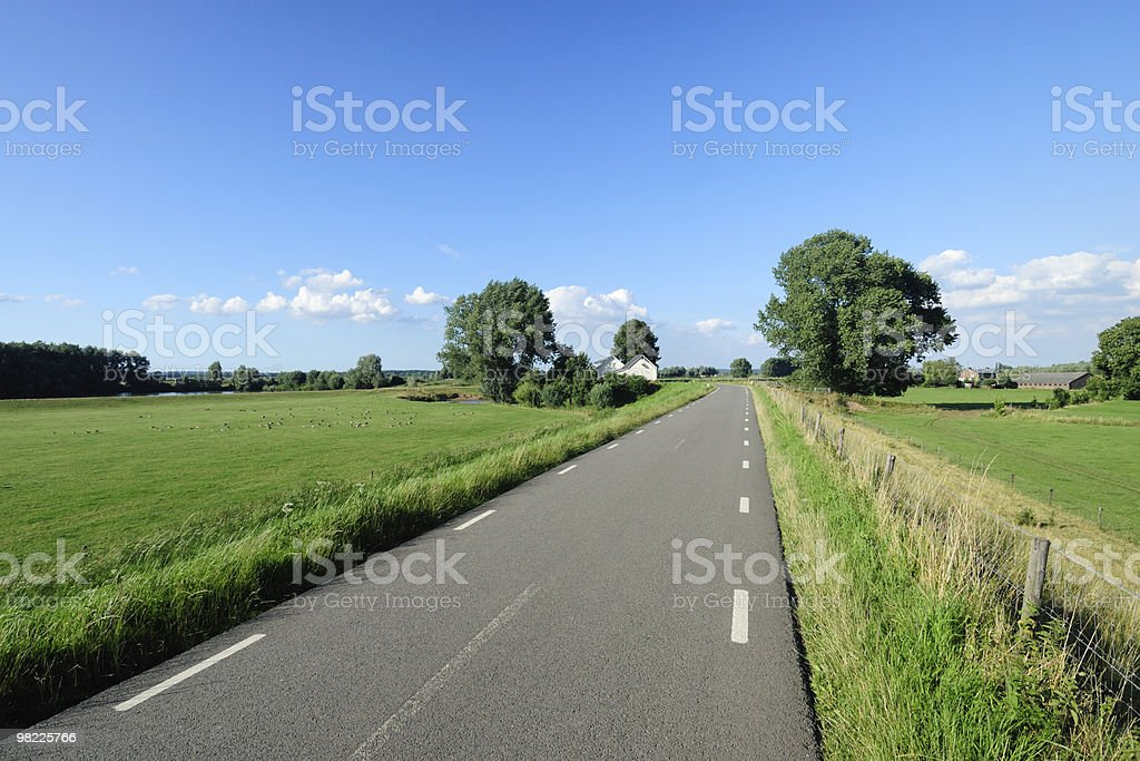 Rural road in Dutch landscape royalty-free stock photo