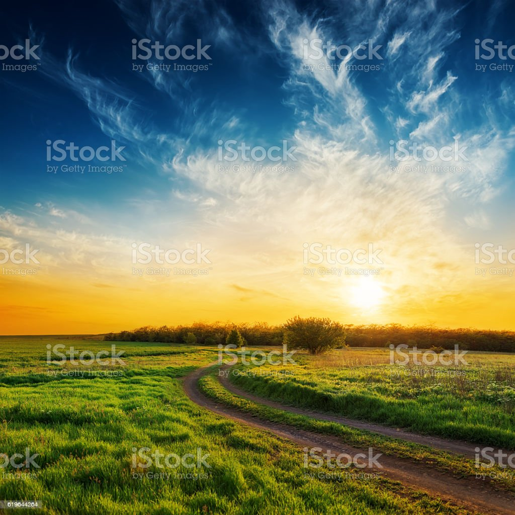 rural road in green grass and sunset in dramatic sky stock photo
