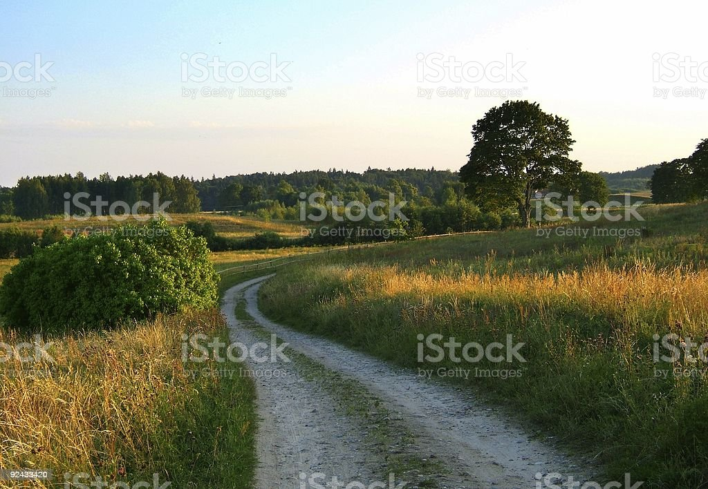 rural road in the evening stock photo