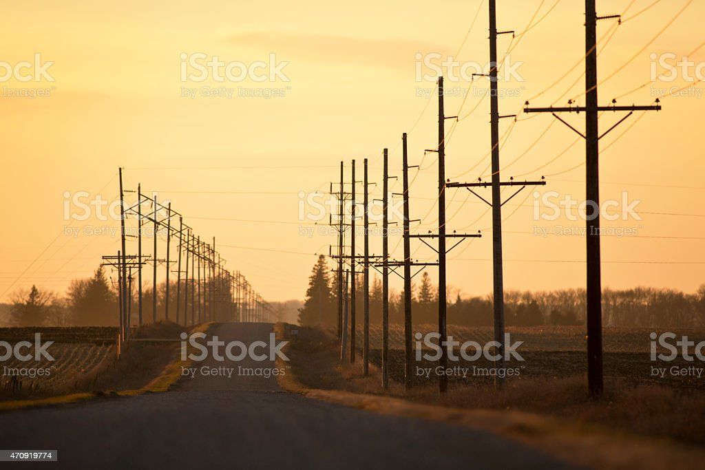 Rural Road in The Midwest at Sunset. stock photo