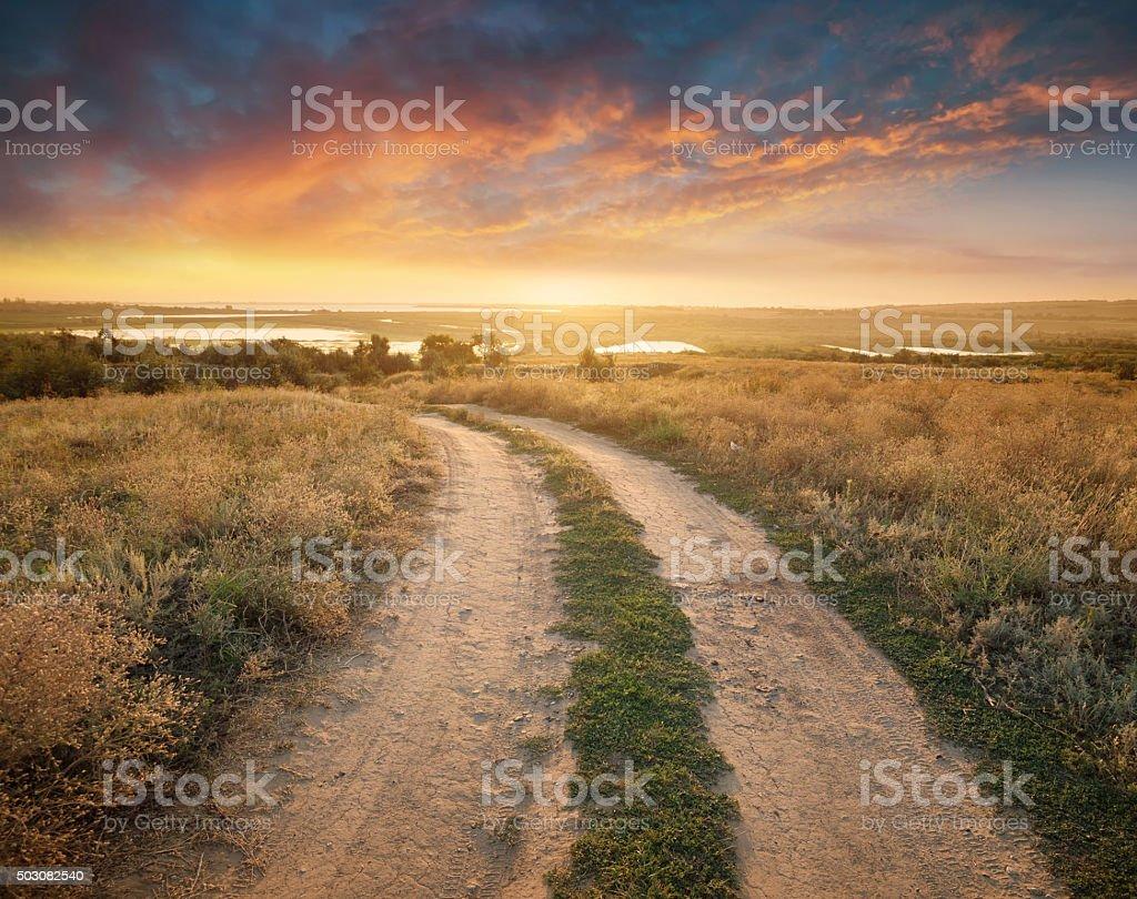Rural road stock photo