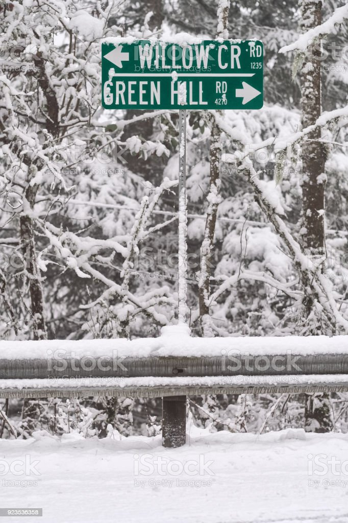 Rural Road Sign in Snowy Forest stock photo
