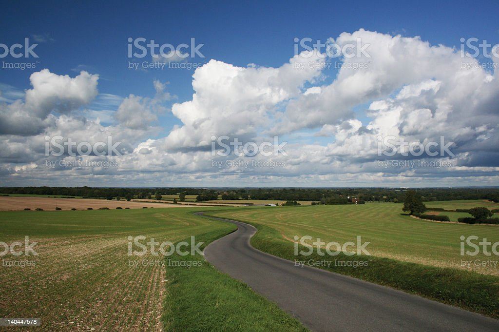 Rural road surrounded by green farmland and blue skies stock photo