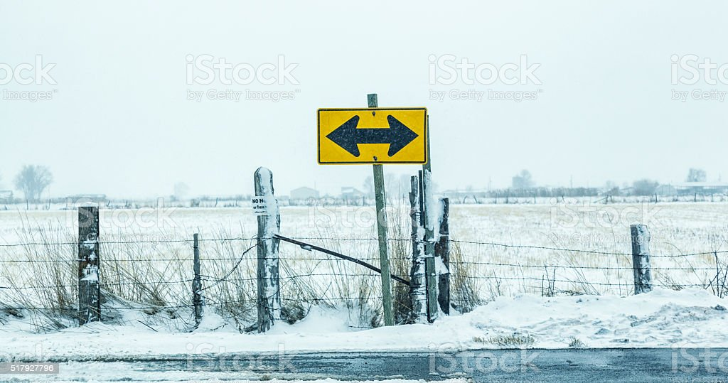 Rural Road T Intersection Junction Traffic Sign in Winter Blizzard stock photo