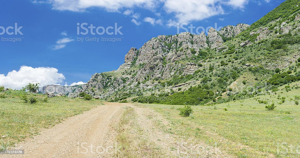Rural road to Valley of Ghosts in Crimean mountains royalty-free stock photo