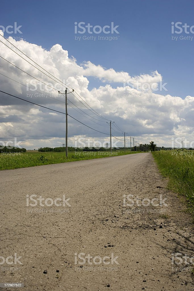Rural Road with telephone poles. stock photo