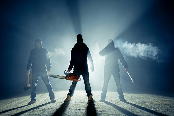 rural roadside killers - chainsaw stock photos and pictures