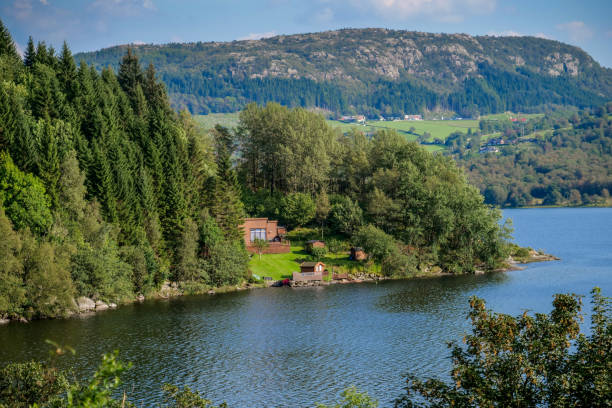 Norway - No Urban - Nordic - Nature - Cottage - Fjord stock photo